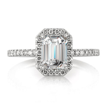 Emerald Cut Diamond Womens Engagement Ring 14k White Gold Finish 925 Real Silver - $74.99