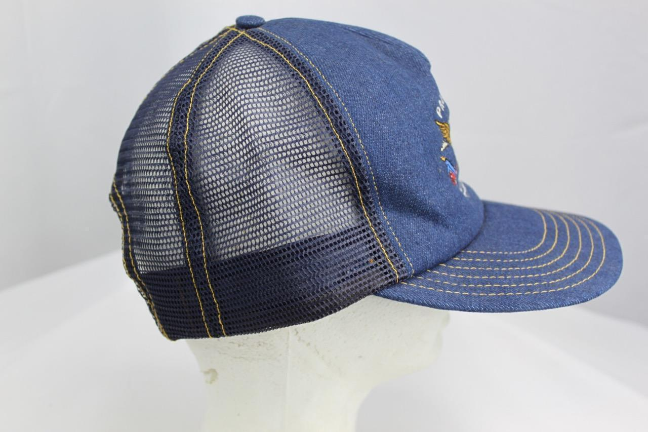 Proud To Be American Embroidered Snapback Jean Mesh Trucker Hat Made in USA image 2