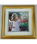 Laurie Snow Hein Framed Picture Matted Angel Girl Floral Dove Gold Frame... - $26.68