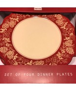 222 FIFTH Andover Christmas Red Scalloped Edge Dinner Plates Set 4 ~NEW ~ - $64.99
