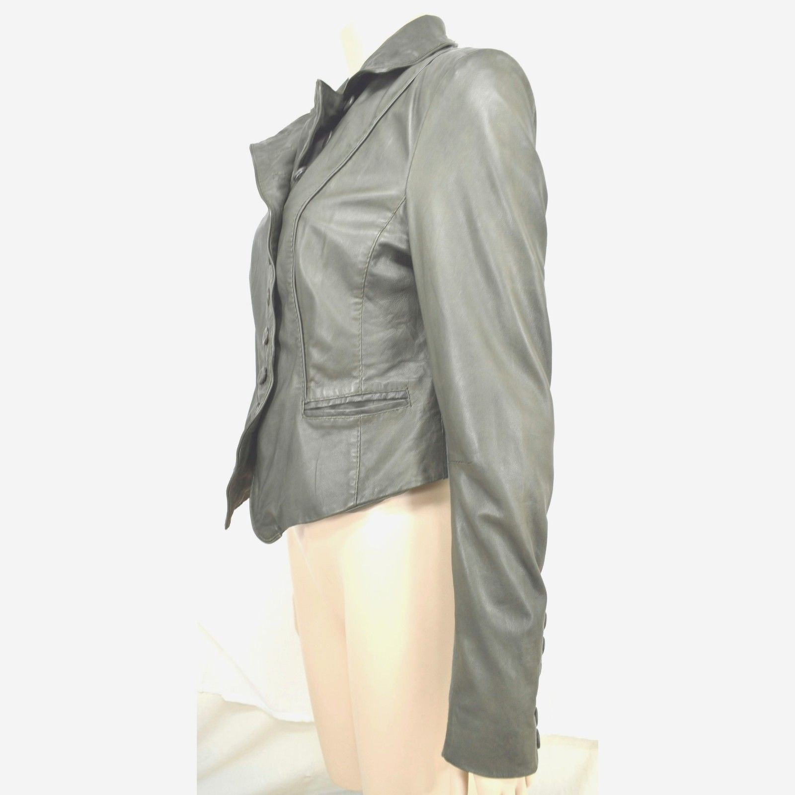 MUUBAA lambskin soft leather jacket SZ 8 Moss Army Gray asymmetric buttoned image 9