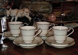 12pc NORITAKE IVORY CHINA TRUDY 7087 Tea Cup & Saucer W/ Dessert Plate - $59.39
