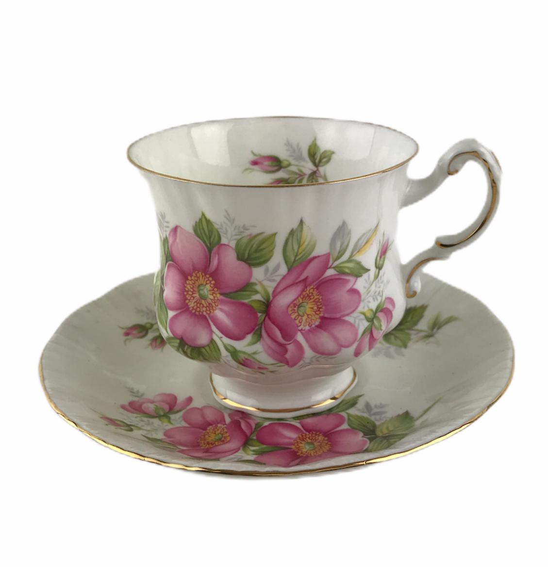 Vintage Paragon England Prairie Rose Floral Cup & Saucer Set Bone China England - $20.26
