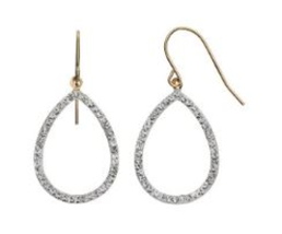 Sterling Silver NWT Teardrop Dangle Earring Crystal 14k Gold-Bonded FO121 - $24.74