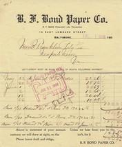 Antique Invoice B.F. Bond Paper Company Baltimore MD 1908 - $4.94