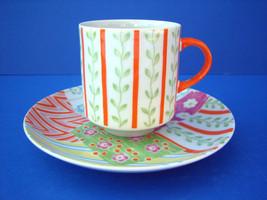 Taste Setters Patchwork Cup Saucer Set Orange Handle China - $8.22