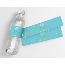 Oh Baby Blue Personalized Baby Shower Party Water Bottle Labels  - $20.79