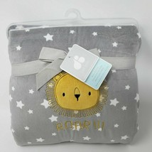Just Born ROAR Gray White Star Sherpa Baby Blanket Lion New NWT - $59.39