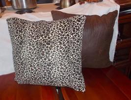 Pair of Brown Beige Leopard Decorative Print Throw Pillows  18 x 18 - $59.95