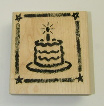 "Birthday Cake Rubber Stamp Candle Large Wood Mounted Star Border 3.25"" High  - $7.91"