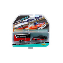 2004 Chevrolet Silverado SS with Car Trailer Red / Black Tow & Go 1/64 Di... - $27.61