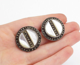 925 Silver - Vintage Mother Of Pearl & Marcasite Non Pierce Earrings - E... - $46.28