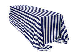 Satin Tablecloth Royal Blue/White Striped 90 x 132 inch Rectangular - $47.99
