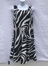 Dressbarn Zebra Pattern Dress Black White Two Pockets Zipper Stretch Siz... - $19.13