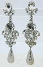 Vintage Silver Tone Clear Rhinestone High Quality Faux PearlDangle Clip Earrings - $29.70