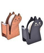 Wooden Tape Dispenser Cutter Cat Roll Holder Mini Washi Storage Wrap Cut... - $6.99