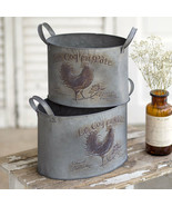 Country new set of 2 ROOSTER design metal storage Bins - $49.99