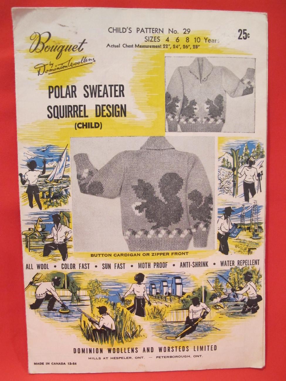 Vintage 1954 Knitting Pattern CHILDRENS Polar Sweater Squirrel Design Size 4 10 - $6.99