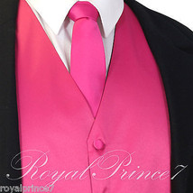 Fuchsia Hot Pink Solid Tuxedo Suit Vest Waistcoat and Necktie Prom Weddi... - $18.79+