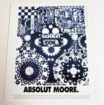 ABSOLUT MOORE Vodka Magazine Ad w/ Artwork by George Moore + ABSOLUT SLI... - $9.99