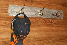 Primitive Reclaimed Centruy Old Farm Wood Hat Coat Rack with 3 Antique S... - $35.99