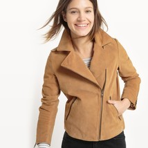 New Shawl Collar Soft Genuine Suede Cropped Length Women's Biker Jacket