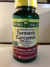 Spring Valley Turmeric Curcumin 500mg with 50mg Ginger Powder 180 Caps - $67.68
