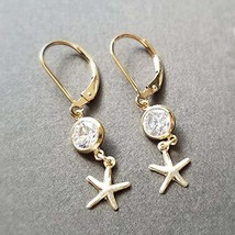 14k yellow gold filled starfish and cz dangle earrings - $61.23
