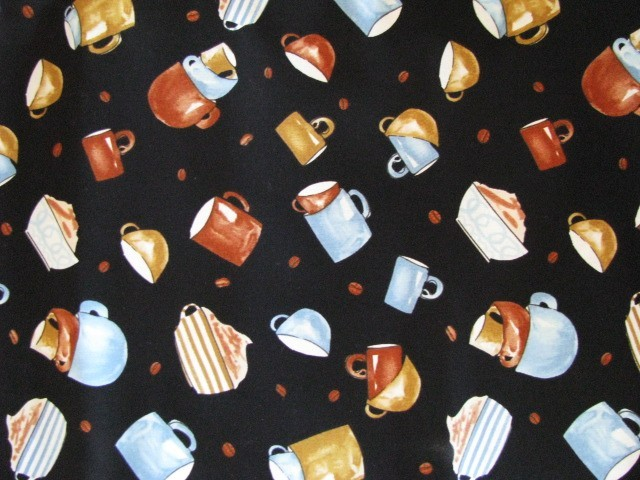 Timeless Treasures Cups C4577 Cups on black Cotton Fabric
