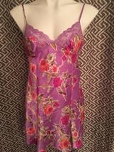 Victorias Secret Purple Floral S Small Nightie Night Gown Satin - $19.74
