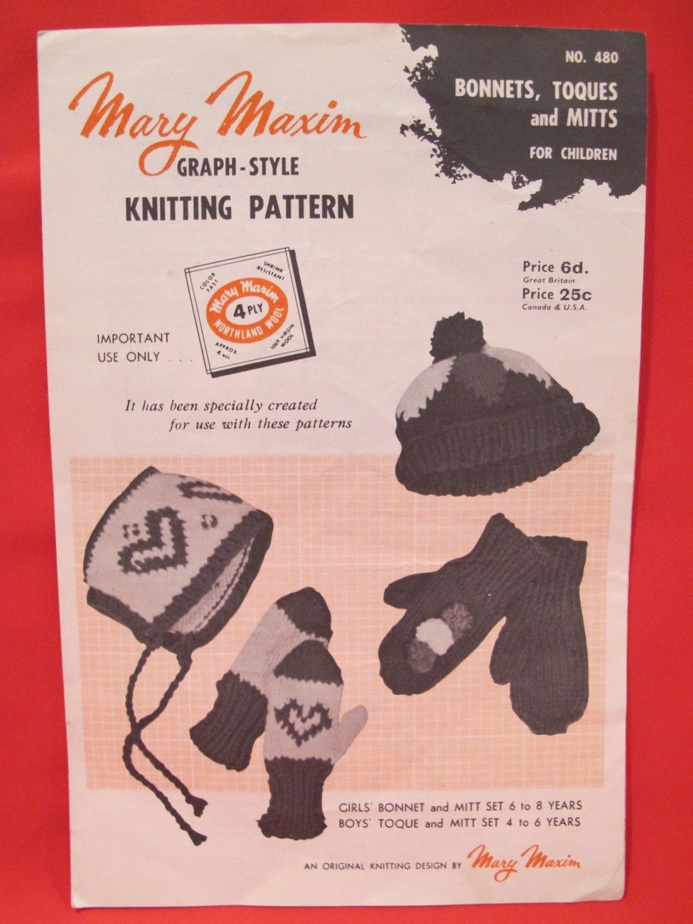 Vintage Mary Maxim Knitting Pattern CHILDRENS Bonnets Toques Mitts