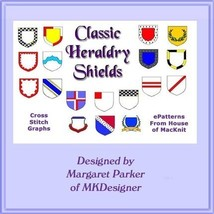 CROSS STITCH 18 Classic Heraldry Shields Graphs - $5.00