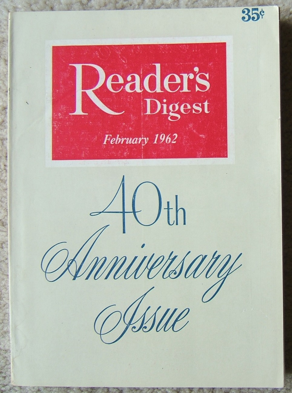 Vintage Readers Digest 40TH Anniversary February 1962 Full Color Vintage Ads