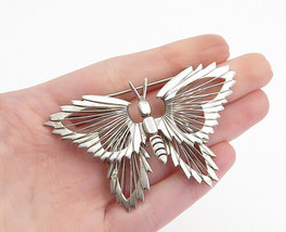MEXICO 925 Silver - Vintage Shiny Wire Detailed Butterfly Brooch Pin - B... - $65.36