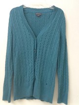 Eddie Bauer womens  light TEAL cardigan cable knit long sleeve sweater size M - $16.95
