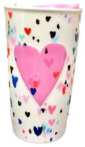 Starbucks 2018 Pink Raised Heart Double Wall Ceramic Tumbler NEW - $60.43