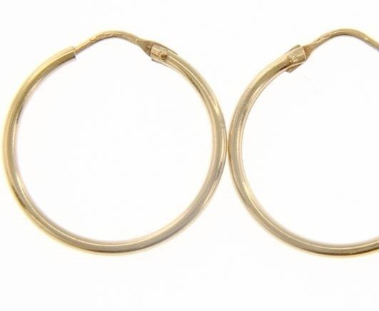 18K YELLOW GOLD ROUND CIRCLE EARRINGS DIAMETER 20 MM WIDTH 1.7 MM, MADE IN ITALY