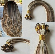 20″ Hand-Tied Weft Hair, 100 grams,100% Human Remy Hair Extensions # 4/613 - $217.79