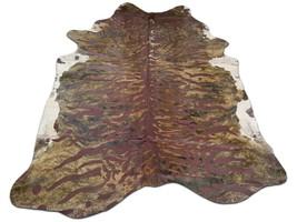 Tiger Cowhide Rug Size: 7.5 X 7 ft Tiger Print Acid Washed Cowhide Rug G... - $216.81