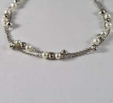 925 Silver Bracelet with Faceted Balls and white pearls freshwater image 2