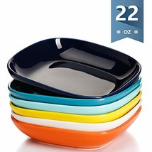 Sweese 120.002 Porcelain Square Salad Pasta Bowls - 22 Ounce - Set of 6, Hot Ass