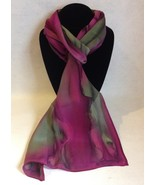 Hand Painted Silk Scarf Fuschia Purple Avocado Green Neck Head Unique Gift  - $44.00