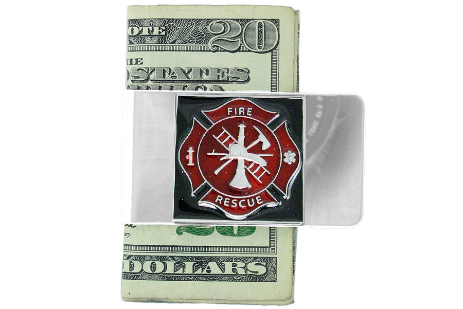 Primary image for FIRE FIGHTERS money clip MENS gift LEAD & nickel FREE