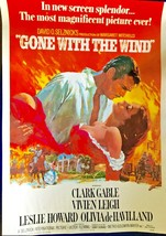 """VINTAGE 28x20"""" GONE WITH THE WIND COLOR POSTER - RHETT & SCARLETT - REPR... - $5.00"""