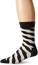 Happy Socks Men's 1 Pack Unisex Cotton Crew Wave Polka, Black/White, 10-13 - $5.94