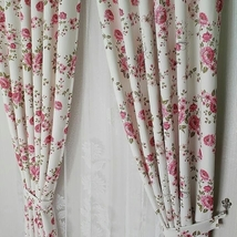 "Pair of floral shabby chic blackout curtain 54"" x 78""  4 colors variants - $112.00"