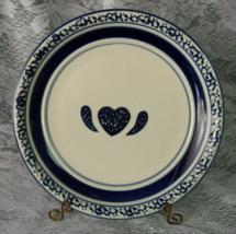 Tienshan Stoneware Blue Country Crock Sponge Heart Wings  Blue Bands  - ... - $5.00