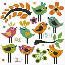 Vibrant Afternoon Tweet bird cross stitch chart Pinoy Stitch - $13.50