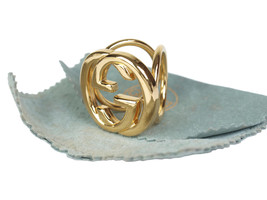 Auth Gucci GG Logo Gold Tone Ladies Scarf Ring GS4975L - $149.00