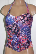 NEW Kenneth Cole CRL Coral Multi Hit the Surf Blue Multi Tankini Top S Small - $18.18